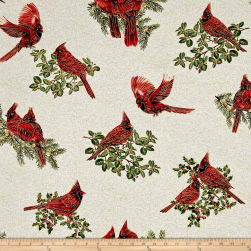 A Festive Season Metallic Backyard Cardinals Cream Fabric
