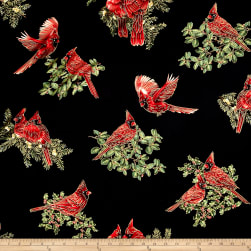 A Festive Season Metallic Backyard Cardinals Black Fabric