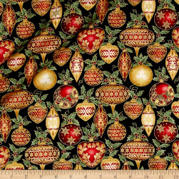 A Festive Season Metallic Festive Ornaments Black Fabric
