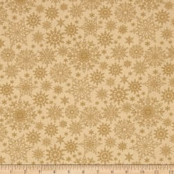 A Festive Season Metallic Tonal Snowflake Golden Fabric