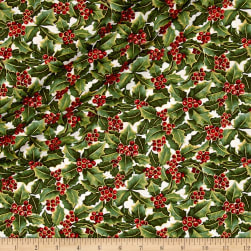 A Festive Season Metallic Holly Allover Cream Fabric