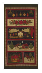 "A Moose for Christmas 23"" Panel Multi"