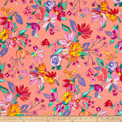 Summer Garden Flora Orange Fabric