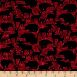 Living Lodge Silhouettes Red Fabric