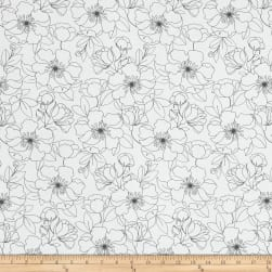 The Coloring Collection Floral White Fabric