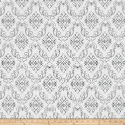 The Coloring Collection Damask White Fabric
