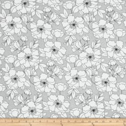 The Coloring Collection Floral Gray Fabric