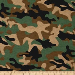 Flannel Camo Green Fabric