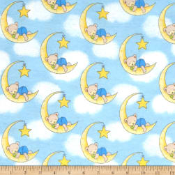Flannel Dreamy Bear Blue Fabric