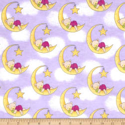 Flannel Dreamy Bear Lilac Fabric