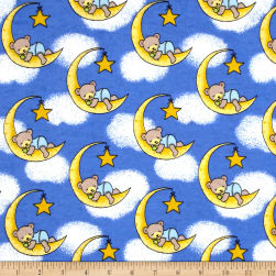 Flannel Dreamy Bear Royal Fabric