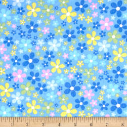 Flannel Flower Field Blue Fabric