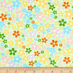 Flannel Flower Field Mint Fabric