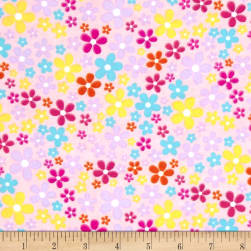 Flannel Flower Field Pink Fabric
