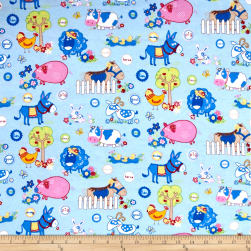 Flannel Funny Farm Blue Fabric