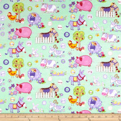Flannel Funny Farm Mint Fabric