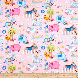 Flannel Funny Farm Pink Fabric