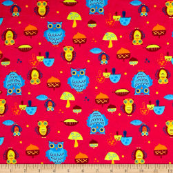 Flannel Owls Red Fabric