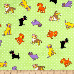 Flannel Rescue Dog Lime Fabric