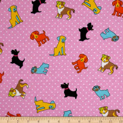 Flannel Rescue Dog Pink Fabric