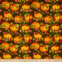 Colors of Fall Pumpkins & Leaves Green Fabric