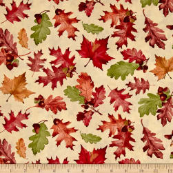 Colors of Fall Tossed Leaves Tan Fabric