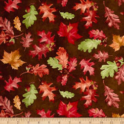 Colors of Fall Tossed Leaves Brown Fabric