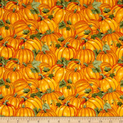 Colors of Fall Packed Pumpkins Orange Fabric