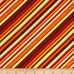 Colors of Fall Diagonal Stripe Red/Orange Fabric