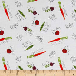Freshly Picked Veggies Allover White Fabric