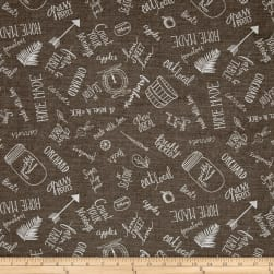 Freshly Picked Kitchen Toile Dark Gray Fabric