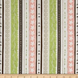 Freshly Picked Ticking Stripe Brown/Green Fabric