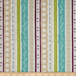 Freshly Picked Ticking Stripe Plum/Teal Fabric