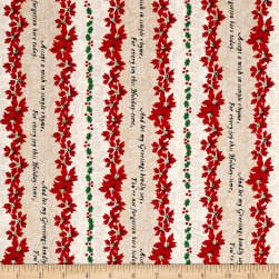 Greetings Holiday Stripe Multi/Tan Fabric