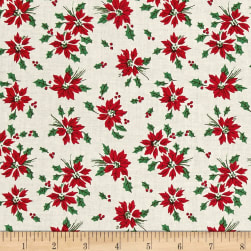 Greetings Poinsettia Toss Cream Fabric