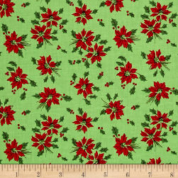 Greetings Poinsettia Light Green Fabric