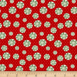 Greetings Tiny Peppermints Red Fabric