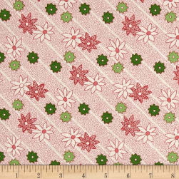 Greetings Dotted Striped Floral Cream/Red Fabric