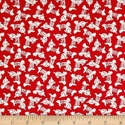 Greetings Puppy Toss Red Fabric