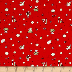 Greetings Tiny Toys Red Fabric