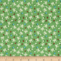 Greetings Flowers & Bows Light Green Fabric