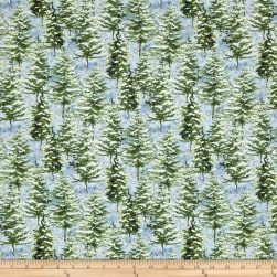 After The Snow Pine Trees Blue Fabric