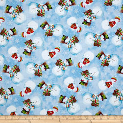 Snowy Friends Tossed Snowmen Light Blue Fabric