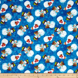 Snowy Friends Tossed Snowmen Dark Blue Fabric