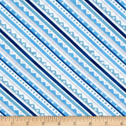 Snowy Friends Diagonal Stripe Blue Fabric