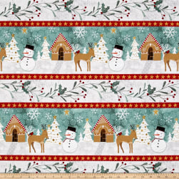 Wilmington Frosted Holiday Repeating Stripe Multi Fabric