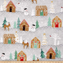 Wilmington Frosted Holiday Scenic Gray Fabric