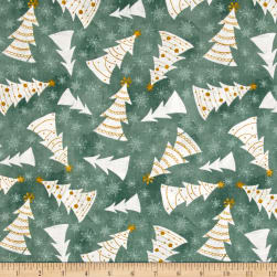 Wilmington Frosted Holiday Trees Allover Green Fabric