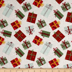 Wilmington Frosted Holiday Presents Allover Tan Fabric