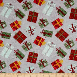 Wilmington Frosted Holiday Presents Allover Gray Fabric